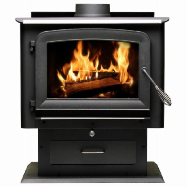 US Stove AW2520E-P Pedestal Wood Stove, Metallic Black