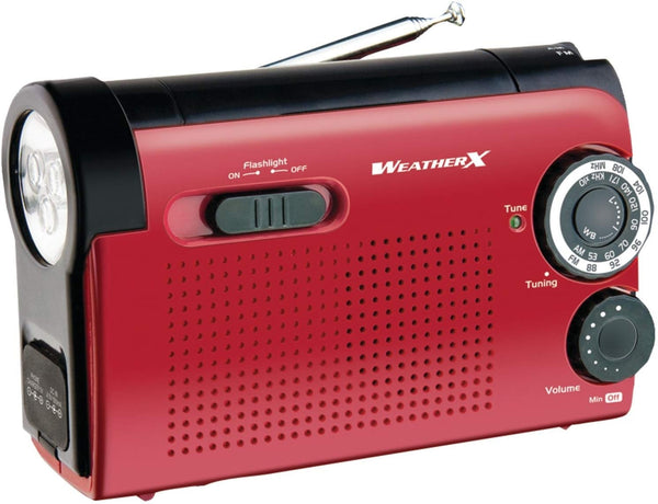 WeatherX WR182R AM/FM Weather Band Radio & LED Flashlight, Red