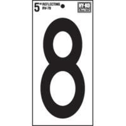 Hy-Ko RV-70/8 Reflective Vinyl Numbers, #8, 5""