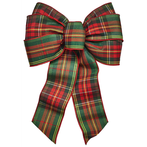 Holiday Trims 6140 Plaid Deluxe Christmas Bow, 7 Loop
