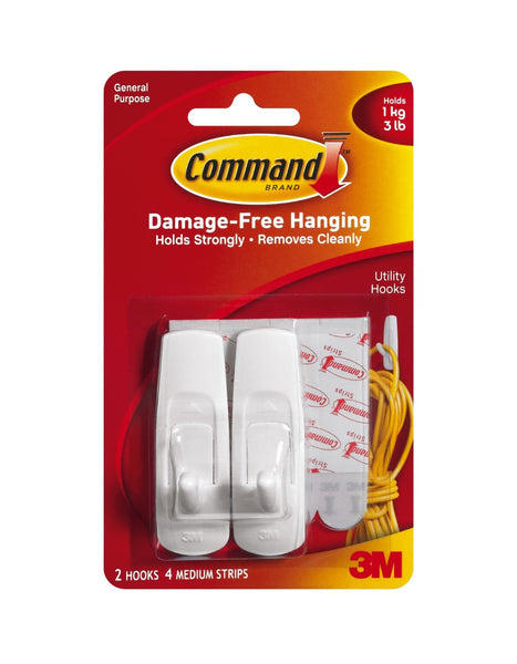 Command 17001CS Medium Hooks Clip Strip, Plastic, 12 Pack