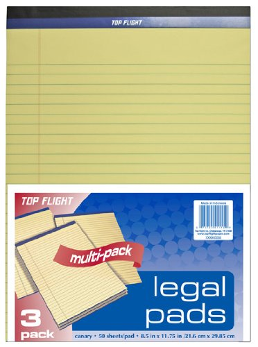 "Top Flight 8115/3 Legal Pads 8.5""x11-3/4"", Yellow"
