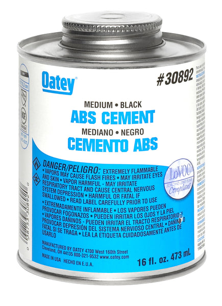 Oatey 30892 ABS Medium Solvent Cement, 16 Oz, Black