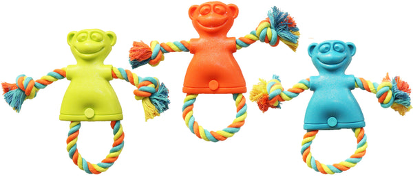 Chomper WB15502 TPR Monkey Tug Dog Toy, Large, Assorted Colors