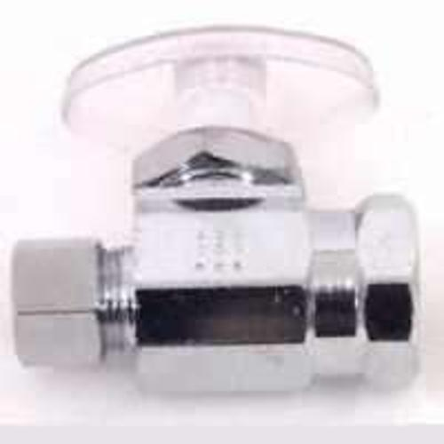 "Plumb Pak PP53PCLF Straight Turn Water Supply Line Valve, 1/2"" x 3/8"", Chrome"