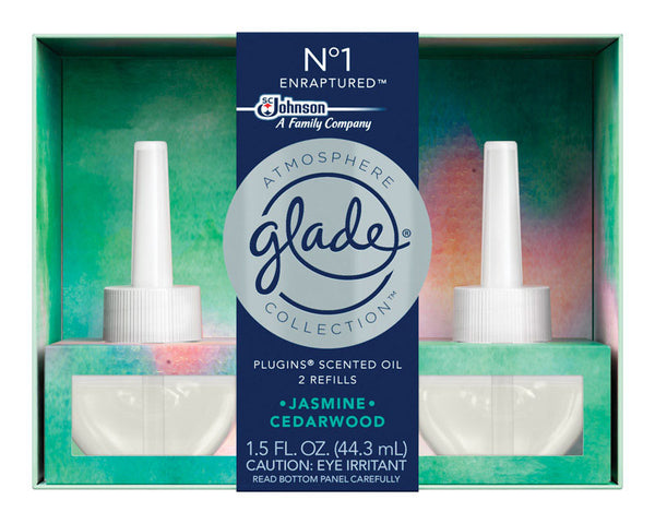 Glade 77238 Atmosphere Collection PlugIns Air Freshener Oil Refill, Jasmine & Cedarwood, 1.5 Oz