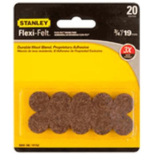 "Stanley 849180 Flexi-Felt Round Self-Adhesive Pads, 3/4"", Brown"