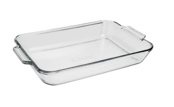 Anchor Hocking 819380BL11 Rectangle Bake Dish, 5 Quart, Clear