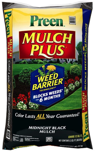 Preen 95456138 Mulch Plus With Barrier Weed, Midnight Black, 2 cu. ft.