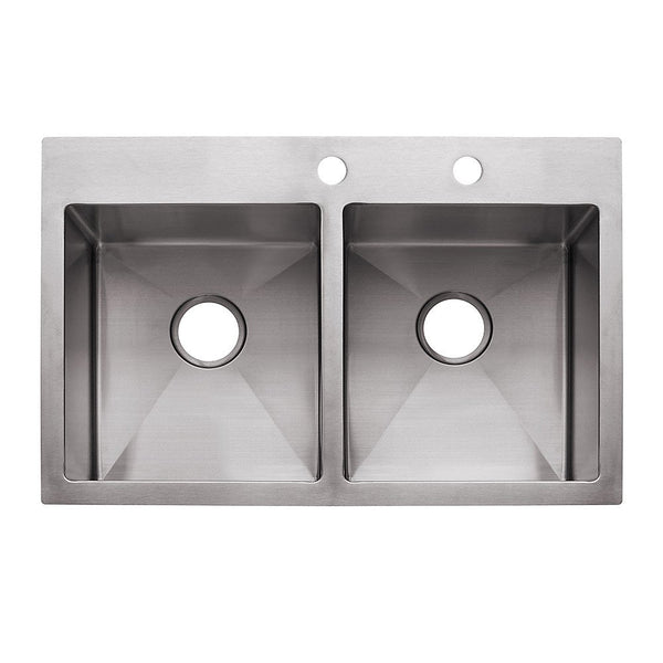 "Franke HF3322-2 Double Bowl Sink Dual Mount, 9"", Stainless Steel"