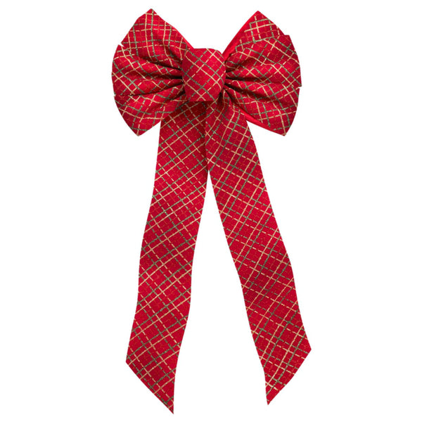 Holiday Trims 6061 Glittered Plaid Christmas Bow, 7 Loop