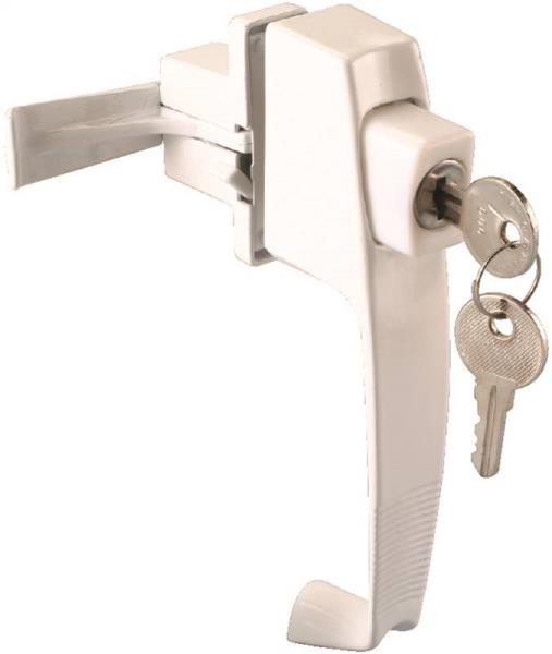 Prosource 47015-UKW-PS Storm/Screen Door Latches, Keyed Lock, White