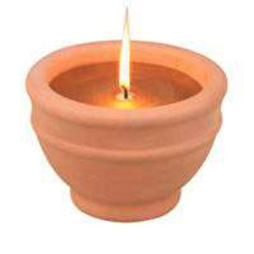 Mintcraft C57655-3L Citronella Candles With Terracotta Bowl