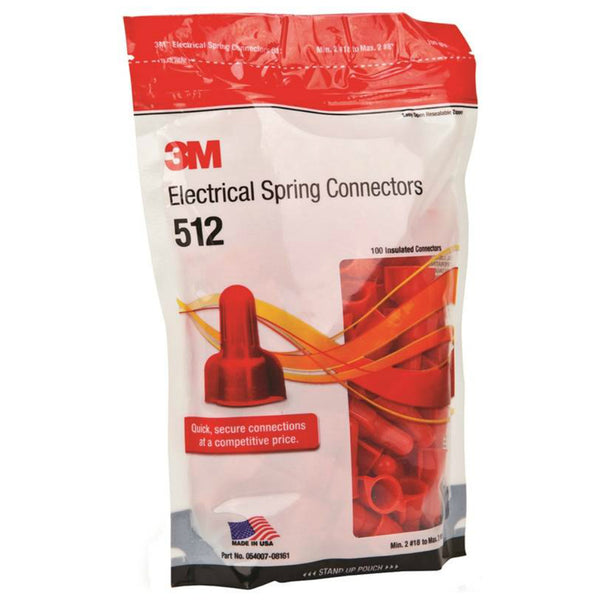 3M SGR Electrical Spring Connector, Red, 100 per Bag