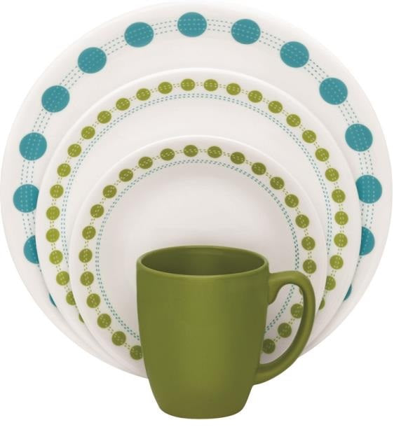 Corelle 1114003 South Beach 16 Piece Dinnerware Set, Blue Green ...