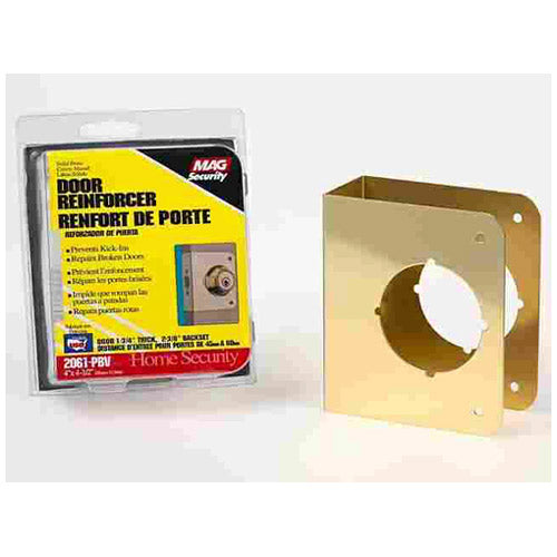 Prime-Line U 9556 Door Reinforcer, Solid Brass, 2-1/8""