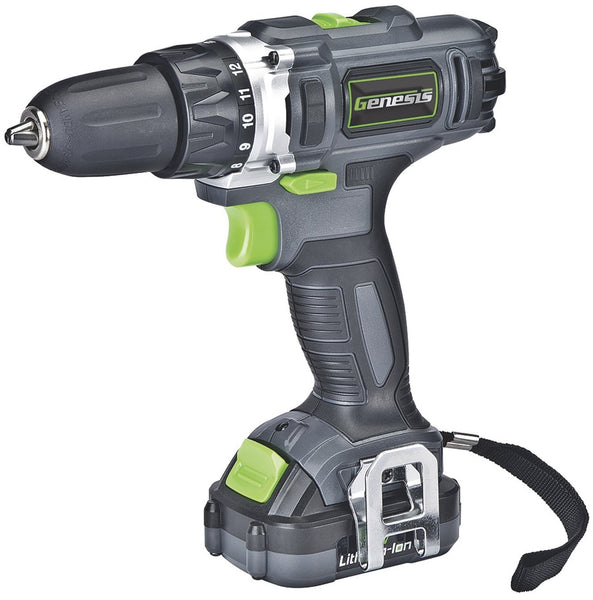 Genesis GLCD122P 12V Lithium-Ion Cordless Drill And Driver, 2 Speed