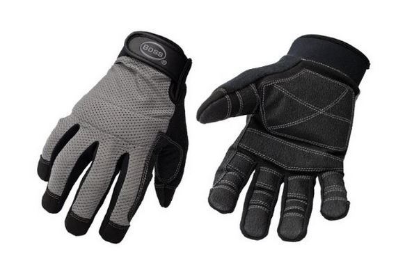 Boss 5204L Men's Mesh Back Utility Glove, Large, Black/Gray