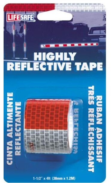"Life Safe RE800 Highly Reflect Tpe, 1 1/2"" x 4' Roll, Red & Silver"