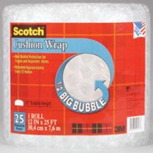 "Scotch BB7912-25 Big Bubble Cushion Wrap, 12"" x 25', 500 mil T, Clear"