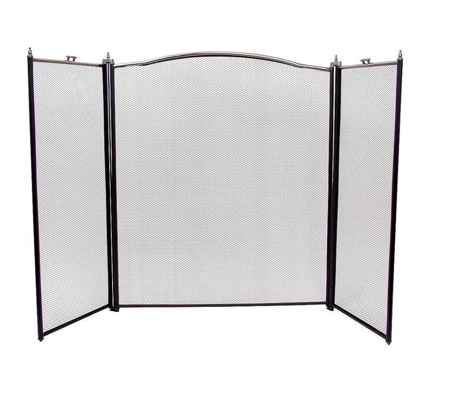 "Homebasix C31020ASK3L 3-Panel Fireplace Screen, Antique Silver, 30.5"" x 52"""