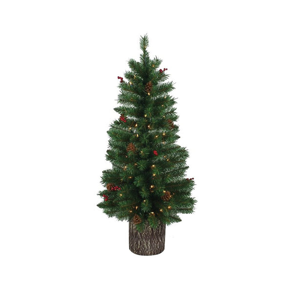 Santas Forest 27348 Pre-Lit Christmas Tree with Log Base, 4'