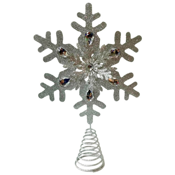 Santas Forest 22401 Christmas Snowflake Tree Top, Silver