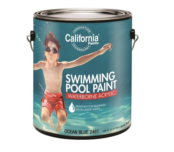 California Paints F24039-1 FixAll Waterborne Acrylic Swimming Pool Paint, 1 Gal, Blue