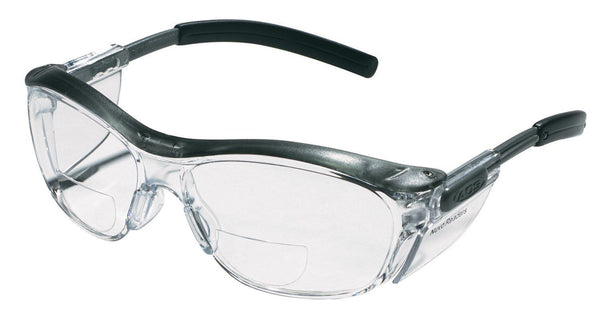 3M 91193-00002T Readers Safety Glasses, Black Frame, Clear Lens, +2.5