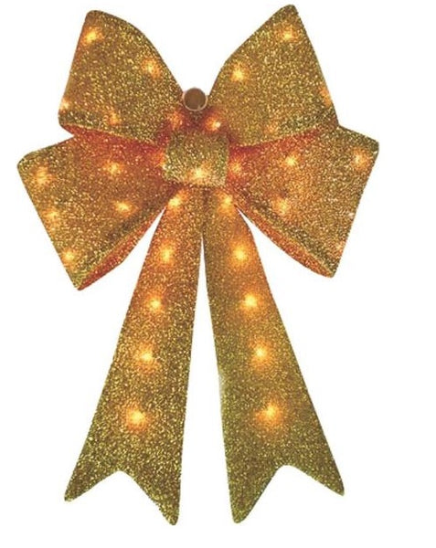 Holiday Basix T11(24)-35LG Golden Tinsel Bow, 24""