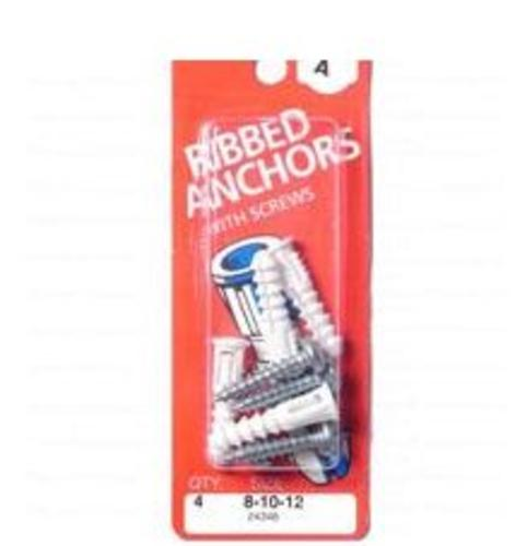 Midwest 24346 8-10-12 Ribbed Plastic Anchor Kit, 12-14-16