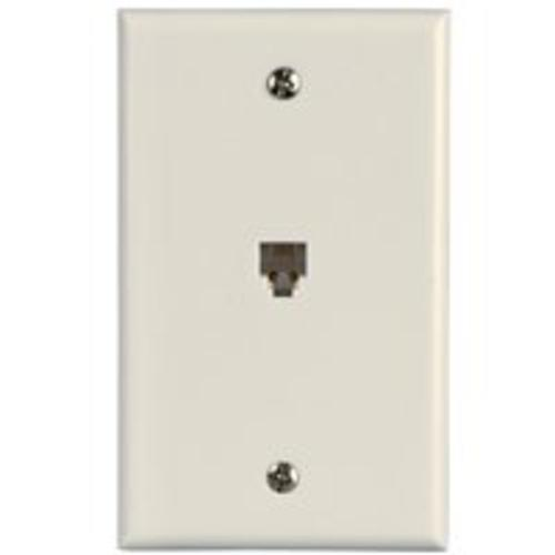 "Zenith TW1001SW Single Telephone Wall Jack , 4.5""x2.75""x0.75"", White"