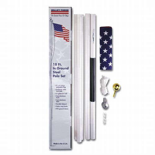 Valley Forge SFP18F-S Residential In-Ground Flag Pole Kit with US Flag, 18' Pole