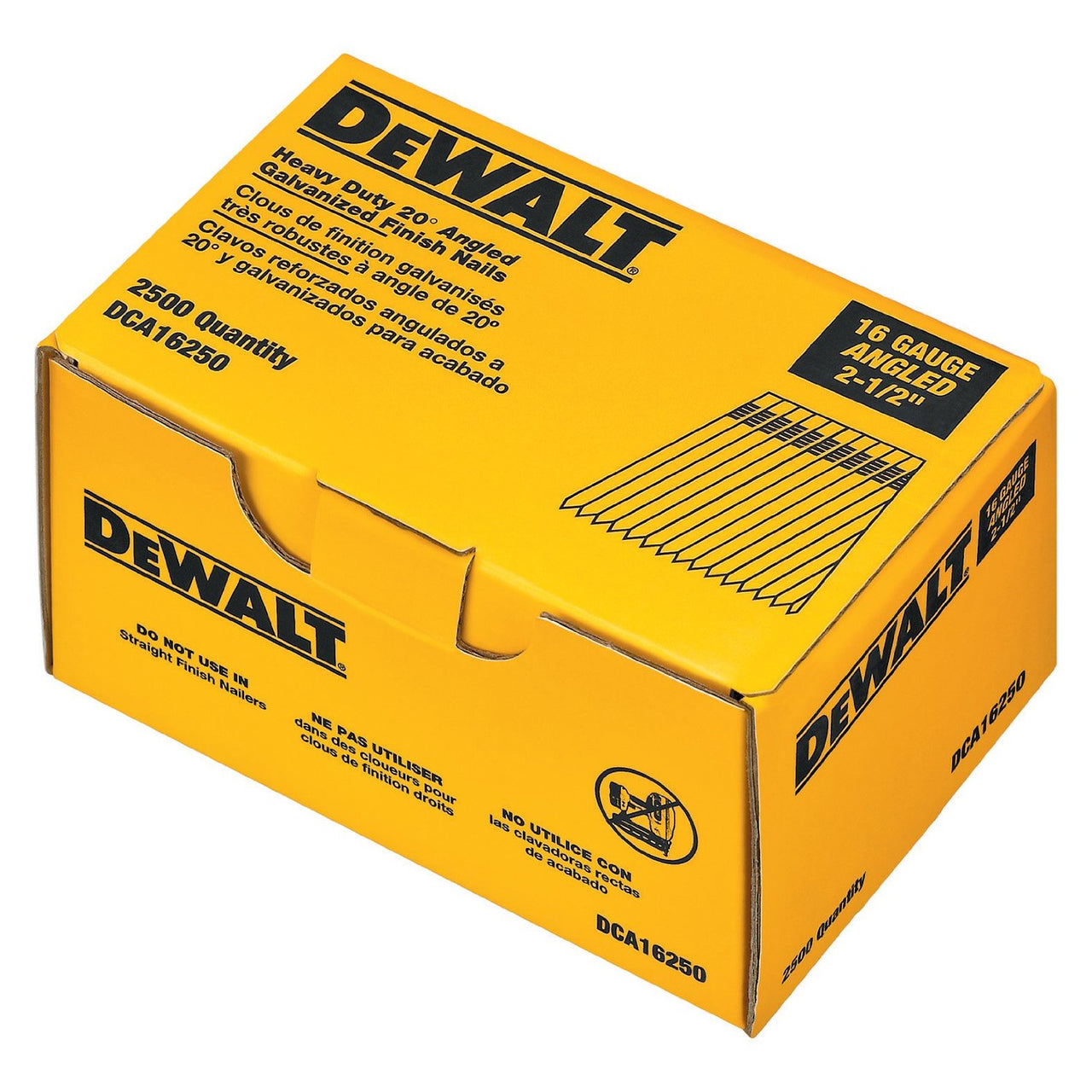 "Dewalt DCA16250 Stick Finishing Nail 2.5"", Galvanized"