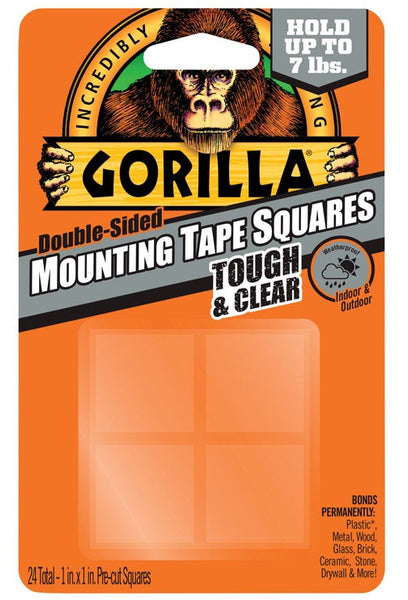 Gorilla 6067202 Mounting Tape Squares, Clear