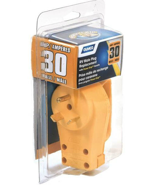 Camco 55243 Male Replacement Plug, Yellow, 125 Volts