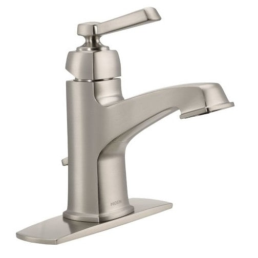 "Moen WS84805SRN Boardwalk Single Handle Lavatory Faucet, 4"", Brushed Nickel"