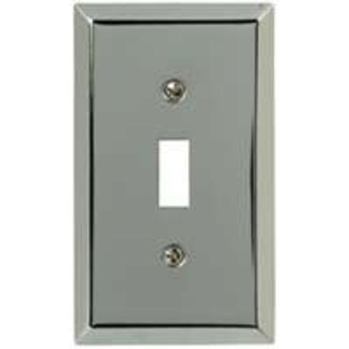 AmerTac 161T Traditional 1 Toggle Steel Wallplate, Polished Chrome