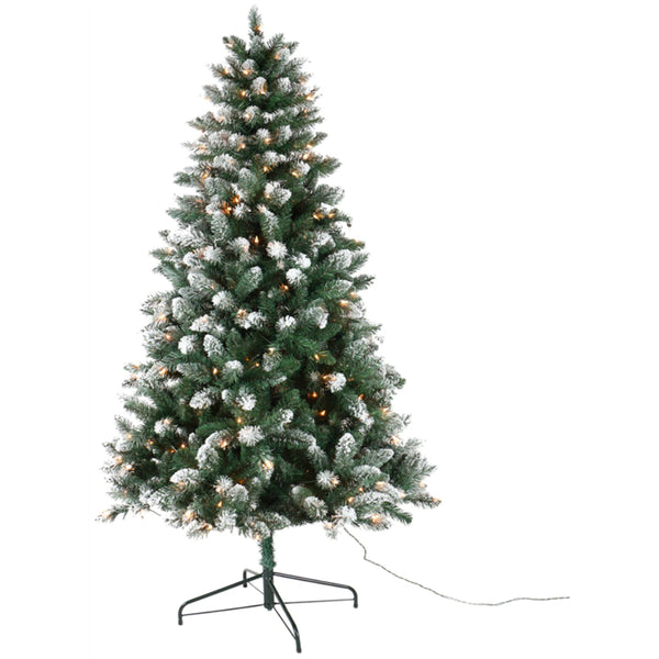 Santas Forest 27470 Prelit Tamarack Christmas Tree, Clear, 7 ft