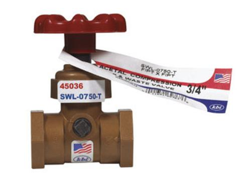"King Brothers SWL-0750-T Celcon Stop & Waste Valve 3/4""X3/4"""