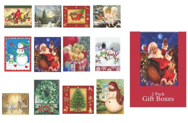 "Santas Forest 69623 Gift Boxes, 17"", Pack of 2"