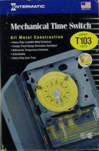 Intermatic T103 Indoor Time Switch, 125 Volts, 40 Amp