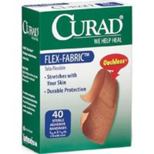 "Curad Ouchless Flexible Fabric Sterile Bandages, 3/4"" x 2-1/2"""