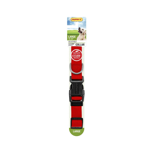 Westminster Pet 7N31143 Ruffin' It Adjustable Dog Collar, Nylon, Red, 18 - 26""