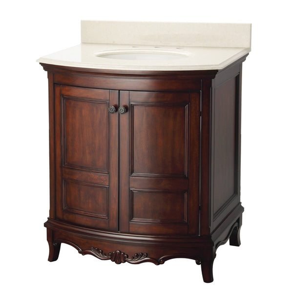 Foremost ASCVT3123 Astria Vanity With Stonewall Beige Vanity Top, Antique Cherry