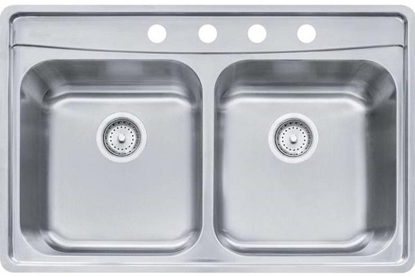 Franke EVDCG904-18 Evolution Double Bowl Kitchen Sink, 18 Gauge