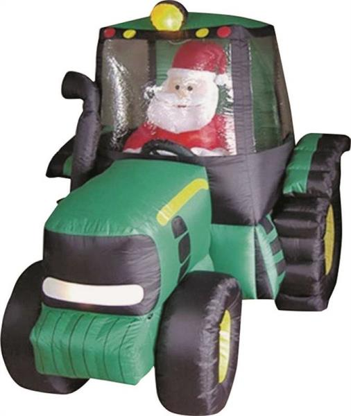 Holiday Basix 90131 Christmas Self-Inflatable Santa Claus On Tractor, 6'