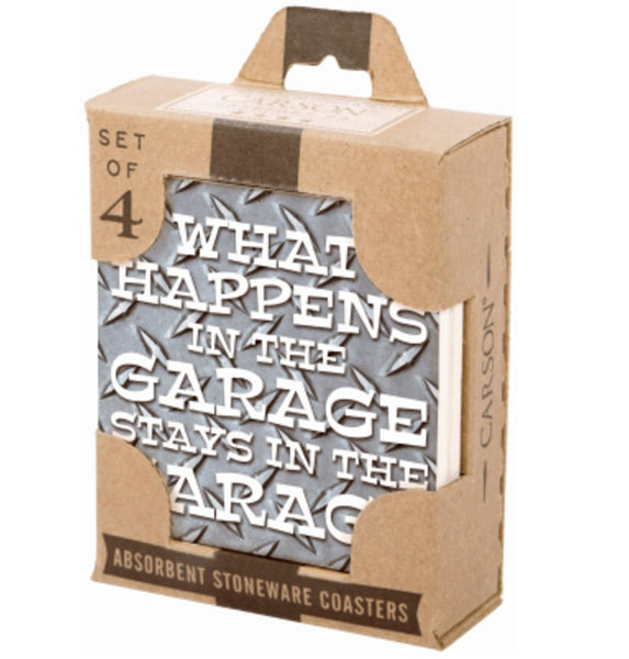 Carson SS72409 Stoneware Absorbent Garage Coasters