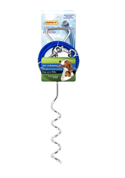 Westminster Pet 7N29515 Ruffin' It Rust-Resistant Tangle-Resistant Tie-Out Cable And Stake, Steel, 15'
