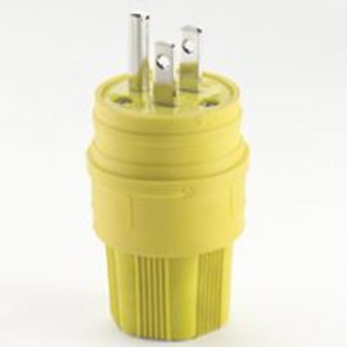 Cooper Wiring 14W47-K Grounded Watertight Plug, 15 Amp, 3 Wire, Yellow